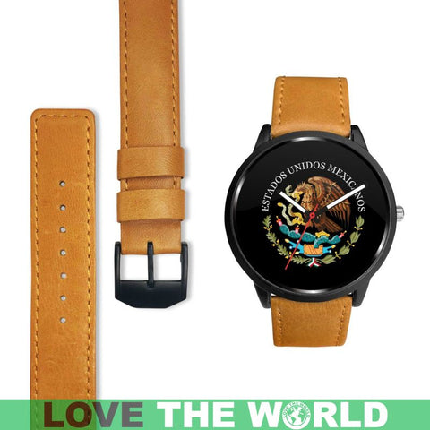 Mexico Coat Of Arms (Black) Leather/steel Watch - Ro7 Mens 40Mm / Brown Leather-Steel Watches