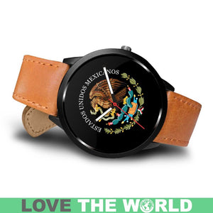 MEXICO COAT OF ARMS (BLACK) LEATHER/STEEL WATCH - BN05