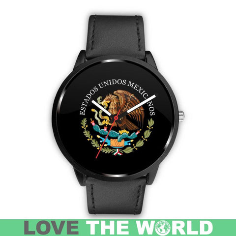 Mexico Coat Of Arms (Black) Leather/Steel Watch - Bn04 |Men and Women| 1sttheworld