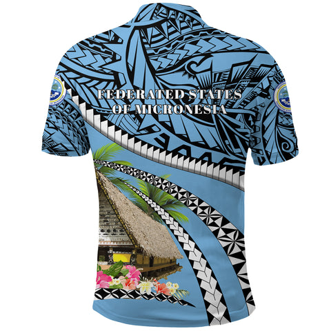 Image of Federated States of Micronesia Meeting House Polo Shirt - Road to Hometown K4