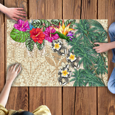 Kanaka Maoli (Hawaiian) Jigsaw Puzzle - Hibiscus Turtle Tattoo Beige | Love The World