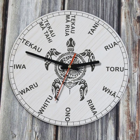 Turtle Maori Tattoo Wooden Wall Clock - NN1