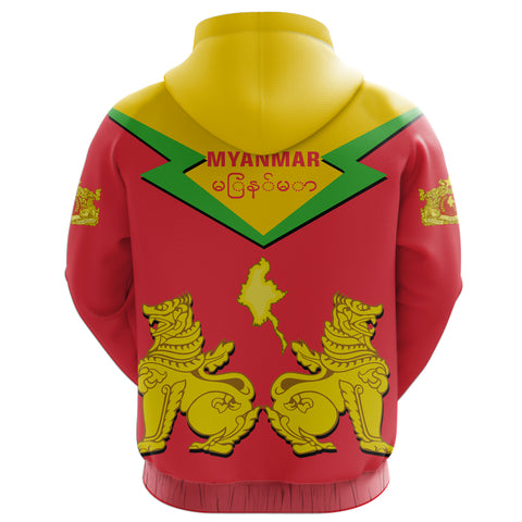 Image of Myanmar Hoodie Burmese Chinthe (Zip) TH5