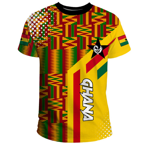 Image of Ghana T-shirt Ankara Tops Striped A10