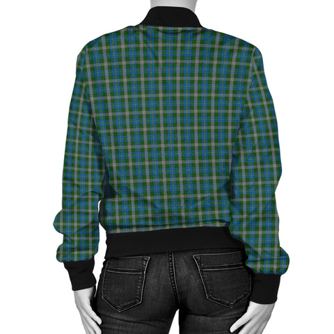 Scotland Tartan Bomber Jacket Women Green A10