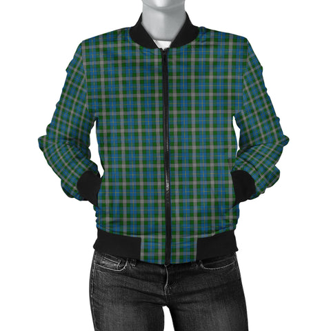 Image of Scotland Tartan Bomber Jacket Women Green A10