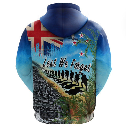 New Zealand Anzac Day Zip Hoodie, New Zealand Lest We Forget | 1sttheworld