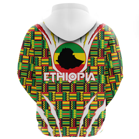 Image of 1stTheWorld Ethiopia Hoodie, Ethiopia Lion Scratch Africa Pattern A10