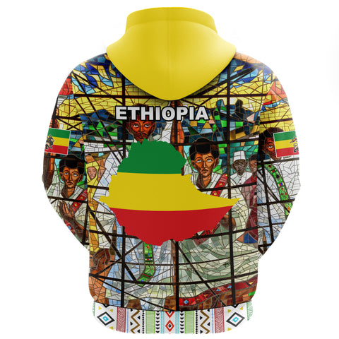 Image of Ethiopia Hoodie Zip, Ethiopian Orthodox Flag 3 A10