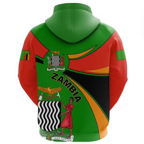 1stTheWorld Zambia Hoodie Zipper, Zambia Round Coat Of Arms Lion A10