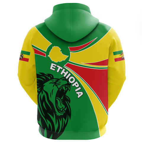 Image of 1stTheWorld Ethiopia Hoodie Zipper, Ethiopia Round Coat Of Arms Lion A10