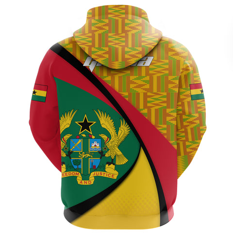 1stTheWorld Ghana Hoodie, Ghana Coat Of Arms Pattern (Zip) A10