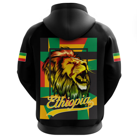1stTheWorld Ethiopia Hoodie Zipper, Ethiopia Lion abstrato Black A10