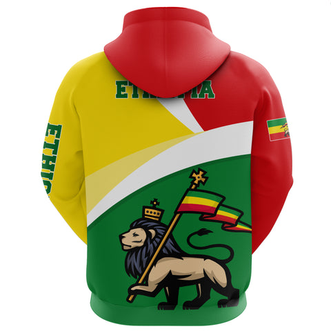 1stTheWorld Ethiopia Full-Zip Hoodie, Ethiopia Flag Maps Lion A10