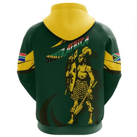 1stTheWorld South Africa Hoodie - South African Shaka Zulu Green A10