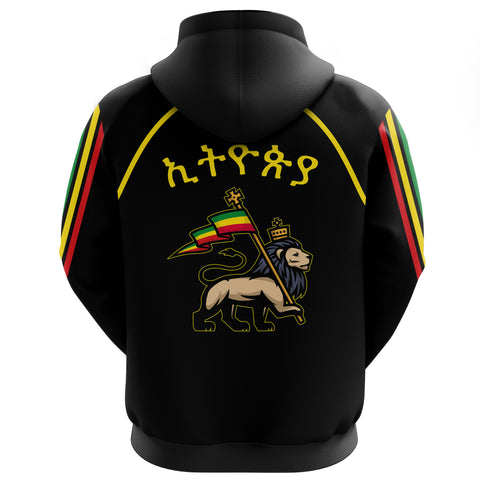 1stTheWorld Ethiopia Full-Zip Hoodie Flag Lion Black A10