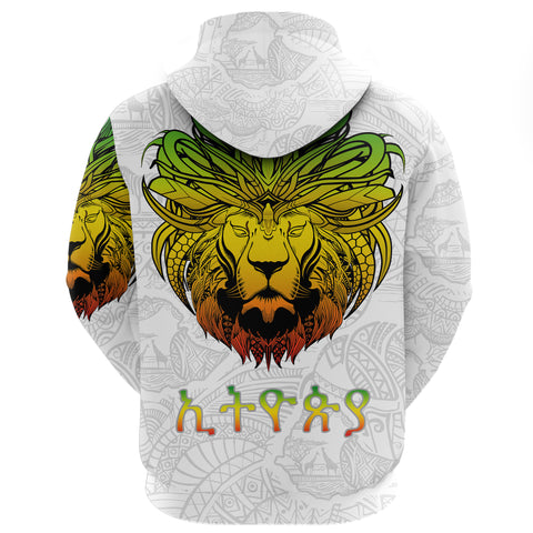Image of 1stTheWorld Ethiopia Hoodie Zipper, Ethiopia Lion Pattern Africa White A10