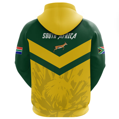 1stTheWorld South Africa Full Zip Hoodie - South African Rising King Protea Yellow A10