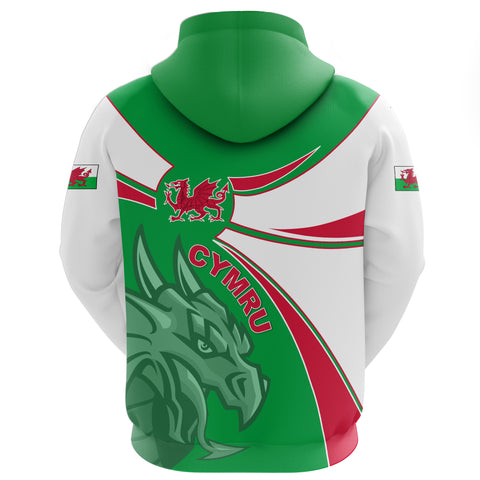1stTheWorld Wales Hoodie, Wales Round Dragon Red A10