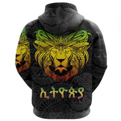 Image of 1stTheWorld Ethiopia Hoodie, Ethiopia Lion Pattern Africa Black A10