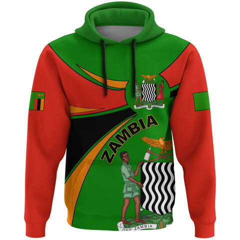 1stTheWorld Zambia Hoodie, Zambia Round Coat Of Arms Lion A10