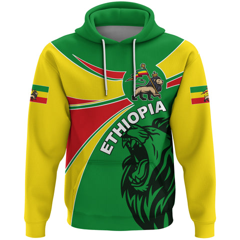 1stTheWorld Ethiopia Hoodie, Ethiopia Round Coat Of Arms Lion A10