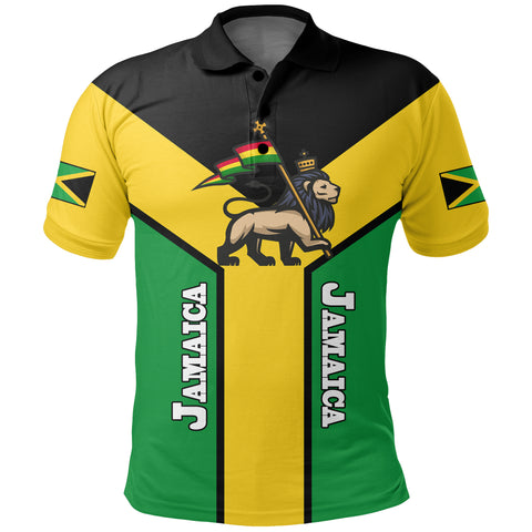 Jamaica Polo Shirt, Jamaica Rasta Rising Flag A10