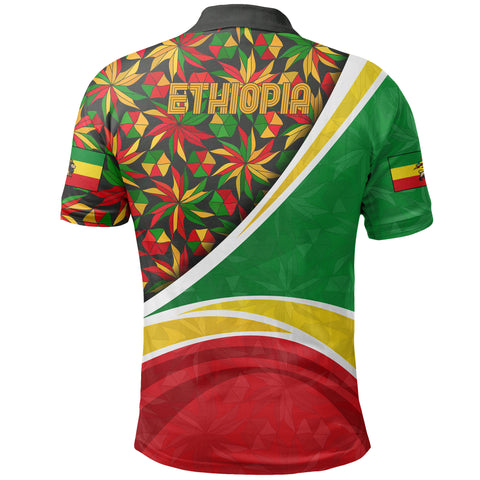 Image of 1stTheWorld Ethiopia Polo Shirt, Ethiopia Lion Of Judah Flag Rasta A10