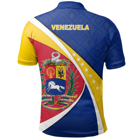 Image of 1stTheWorld Venezuela Polo Shirt, Venezuela Coat Of Arms Pattern A10