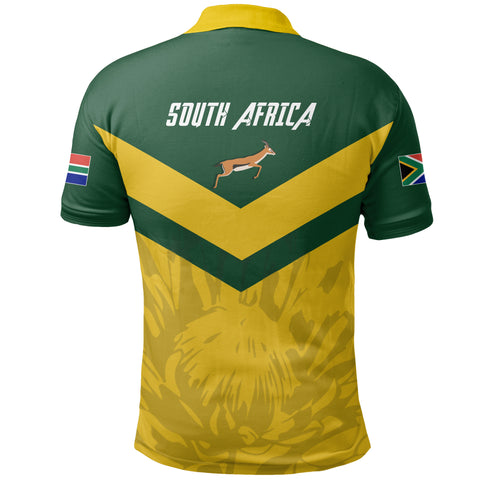 1stTheWorld South Africa Polo Shirt - South African Rising King Protea Yellow A10