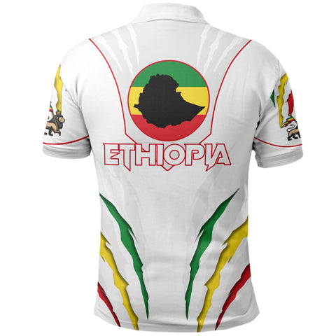 1stTheWorld Ethiopia Polo Shirt, Ethiopia Lion Scratch A10