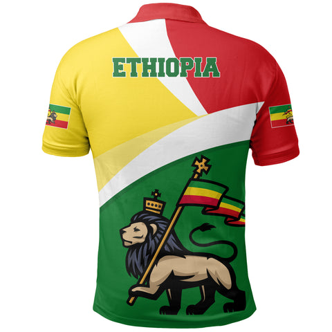 1stTheWorld Ethiopia Polo Shirt, Ethiopia Flag Maps Green A10