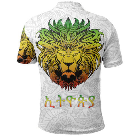 1stTheWorld Ethiopia Polo Shirt, Ethiopia Lion Pattern Africa White A10