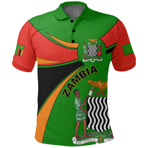 1stTheWorld Zambia Polo Shirt, Zambia Round Coat Of Arms Lion A10