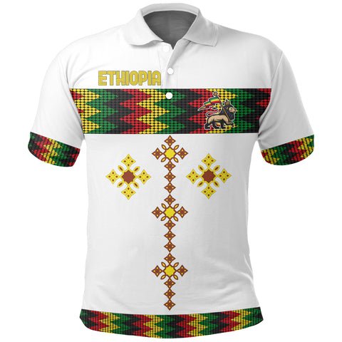 Image of 1stTheWorld Ethiopia Polo Shirt Rasta Round Pattern White A10