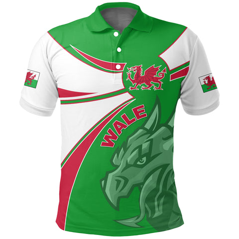1stTheWorld Wales Polo Shirt, Wales Round Dragon Red A10