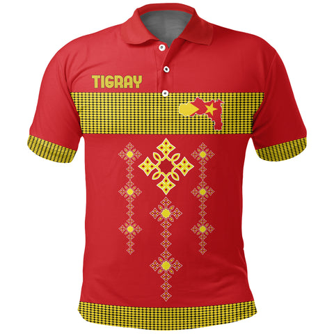 1stTheWorld Tigray Polo Shirt, Tigray Round Pattern Flag Red A10