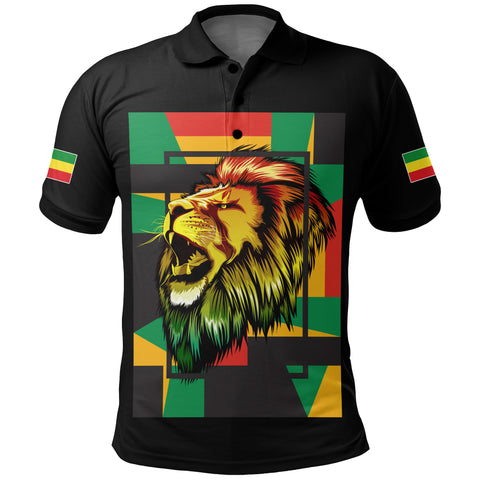1stTheWorld Ethiopia Polo Shirt , Ethiopia Lion Abstrato Black A10
