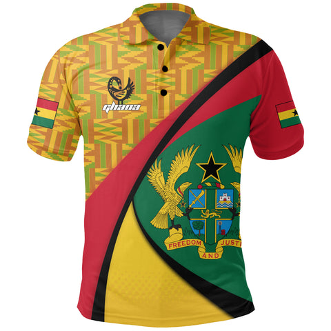 Image of 1stTheWorld Ghana Polo Shirt, Ghana Coat Of Arms Pattern A10