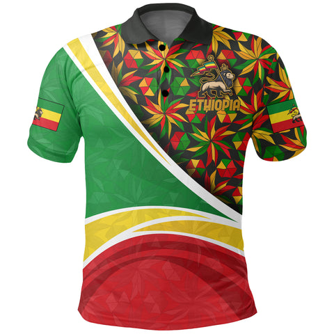 1stTheWorld Ethiopia Polo Shirt, Ethiopia Lion Of Judah Flag Rasta A10