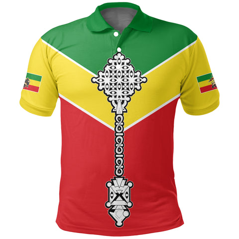 Ethiopian Polo Shirt, Ethiopia Rising Coptic Cross Lion A10