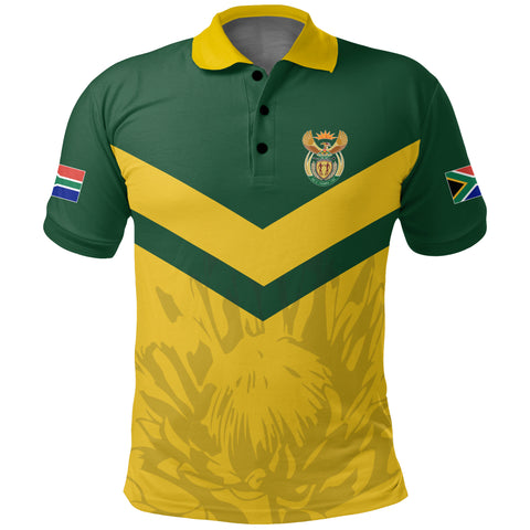 Image of 1stTheWorld South Africa Polo Shirt - South African Rising King Protea Yellow A10