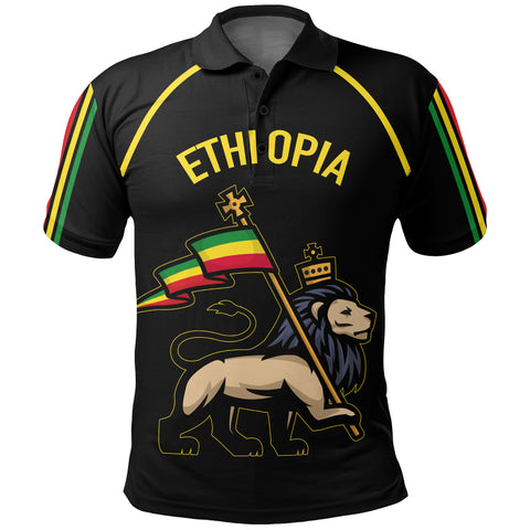 1stTheWorld Ethiopia Polo T-shirt Flag Lion Black A10