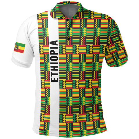 Image of 1stTheWorld Ethiopia Polo Shirt, Ethiopia Stripe African Pattern A10