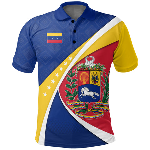 1stTheWorld Venezuela Polo Shirt, Venezuela Coat Of Arms Pattern A10