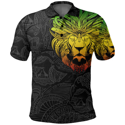 Image of 1stTheWorld Ethiopia Polo Shirt, Ethiopia Lion Pattern Africa A10