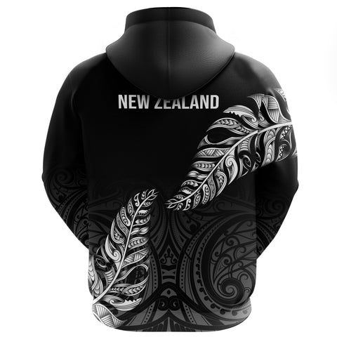 1stTheWorld Custom Aotearoa New Zealand - Maori Silver Fern Full Zip Hoodie Black A10