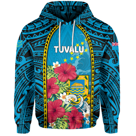 Tuvalu Hoodie Coat Of Arms Polynesian With Hibiscus And Waves TH65