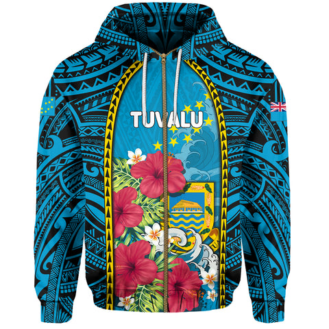 Tuvalu Zip-Up Hoodie Coat Of Arms Polynesian With Hibiscus And Waves TH65