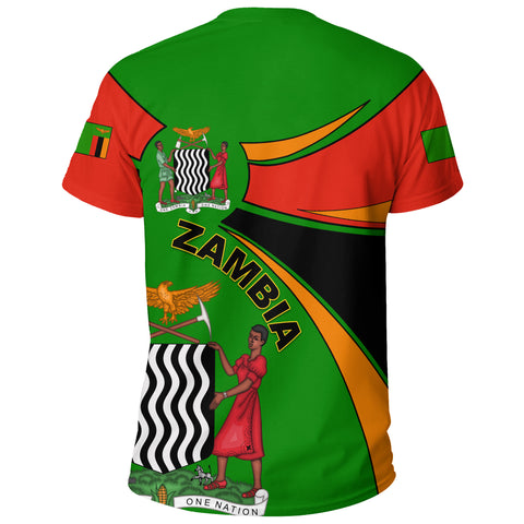 1stTheWorld Zambia T-shirt, Zambia Round Coat Of Arms Lion A10